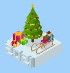 isometric new year 2021 and christmas tree vector image