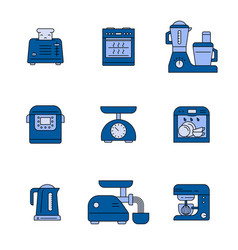 Kitchen appliances colour icons set vector