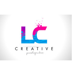 Lc l c letter logo with shattered broken blue vector