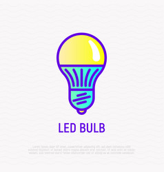 led bulb thin line icon vector image