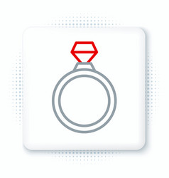 Line diamond engagement ring icon isolated on vector