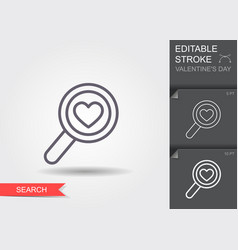 magnifying glass with heart line icon with vector image