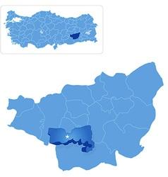 Map of Diyarbakir - Baglar is pulled out vector