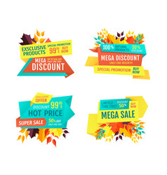 mega autumn discount with hot price emblems set vector image