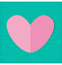 Paper heart on blue background Valentines day card vector
