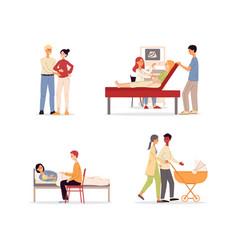 Parenthood and baexpectation scenes set flat vector