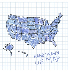Pen drawn USA map on lined paper vector
