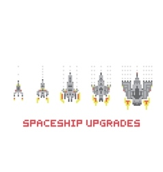 Pixel art style spaceship game upgrades set vector