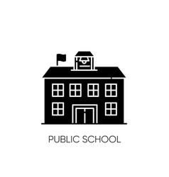 Public school black glyph icon vector
