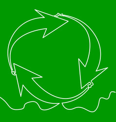 recyclable waste recycling sign continuous line vector image