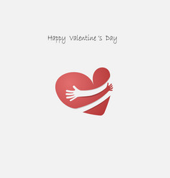 red heart shape with hand embrace vector image