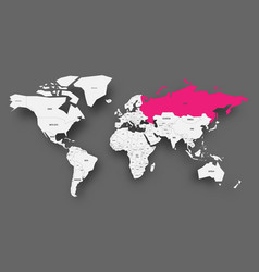 russia pink highlighted in map of world light vector image