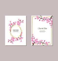 sakura themed wedding invitation set - text vector image