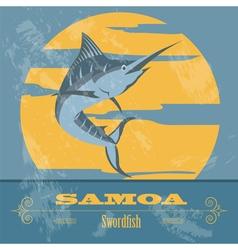 Samoa Swordfish Retro styled image vector