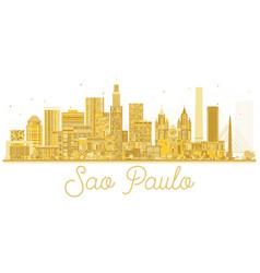sao paulo city skyline golden silhouette vector image