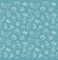 seamless background on theme baby bathing vector image