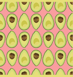 Seamless pattern sliced avocado with seed vector