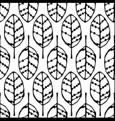 Seamless pattern with black leaves vector