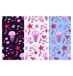 seamless patterns with cute jellyfish and vector image
