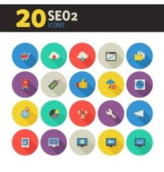 SEO 2 icons on colored round buttons vector