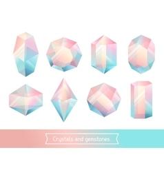 Set geometric crystals gem and minerals vector