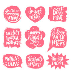 Set mothers day hand lettering in speech vector