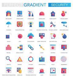set trendy flat gradient modern security vector image