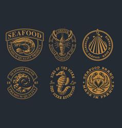 Set vintage for seafood theme vector