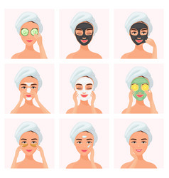 Set young attractive well-groomed women using vector