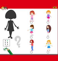 Shadows game with cartoon kid girl characters vector