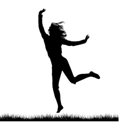 Silhouette of woman jumping outdoor vector
