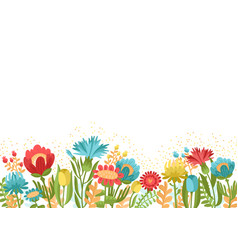 Simply spring garden flowers on blue background vector