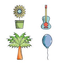 Sunflower guitar palm balloon festa junina set vector