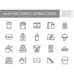 Take away food service line icons vector