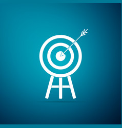 target with arrow icon isolated on blue background vector image
