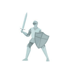 the figure of a knight in protection pose on a vector image