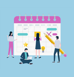 time management people filling schedule planning vector image