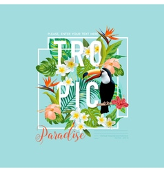 Tropical Bird and Flowers Toucan Bird T-shirt vector image