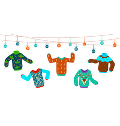 ugly christmas sweater dancing knitting sweaters vector image