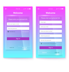 Ui design account register or authorization vector