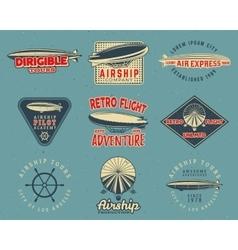 Vintage airship logo designs set Retro Dirigible vector