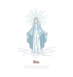 Virgin mary holy woman praying saint in heaven vector