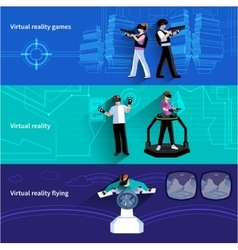 Virtual Augmented Reality Flat Banners Set vector image