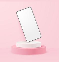 White realistic smartphone mockup on podium 3d vector
