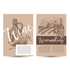 Wine and winemaking set posters with text vector