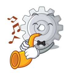 with trumpet gear settings mechanism on mascot vector image