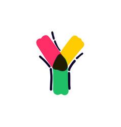 Y letter logo handwritten with a multicolor vector