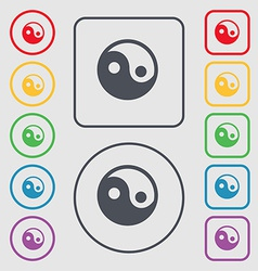 Ying yang icon sign symbol on the Round and square vector