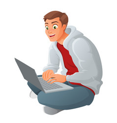 young business man with laptop sitting on floor vector image