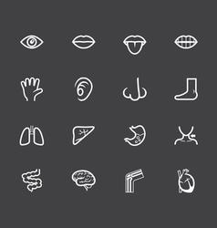 body white icon set on black background vector image